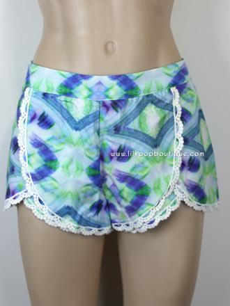 lace shorts summer outfits summer shorts tulip shorts ikat print