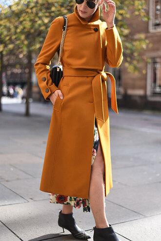 thank fifi blogger coat dress shoes bag jewels fall outfits fall coat yellow coat ankle boots shoulder bag