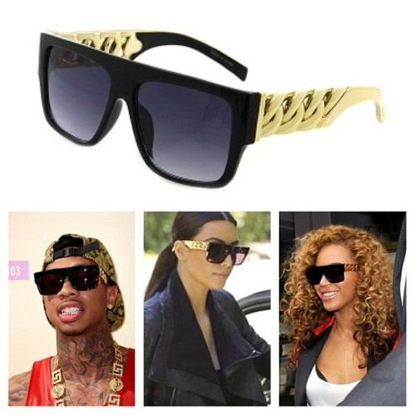 sunglasses beyonce gold gold chain cuban link