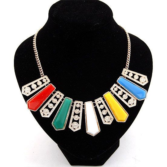 Exaggeration alloy trend of bars women short chain statement bib necklace