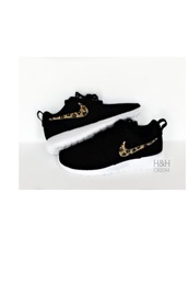 shoes,roshe runs,black and cheetah roshes