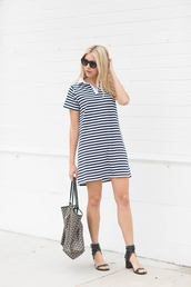 modern ensemble,blogger,dress,shoes,bag,sunglasses,stripes,striped dress,mini dress,wedges,black heels,black and white,t-shirt dress,short sleeve dress,black sunglasses,mid heel sandals,sandals,black sandals,handbag,printed bag,casual dress,casual