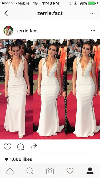 dress perrie edwards red carpet dress white dress gown