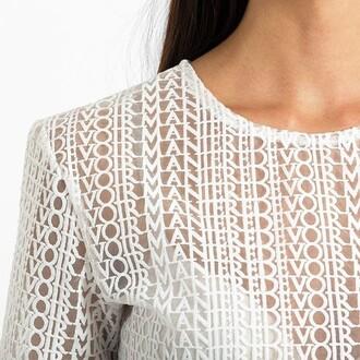 top maniere de voir white top embroidered
