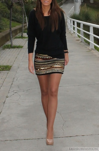 skirt clothes pattern fashion sequins fancy sweater pencil skirt black shoes blouse black blouse tribal pattern aztec miniskrt metallic sparkle classy shimmer rosegold gold silver studs mk smile design style gold beaded tight