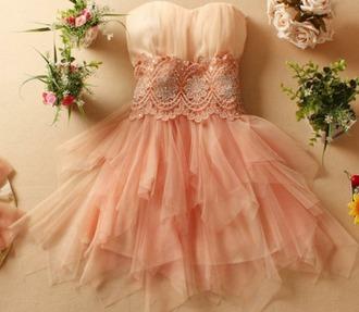 dress pink champagne white beige homecoming homecoming dress sweetheart neckline sweetheart elegant beautiful beading lace feminine prom prom dress