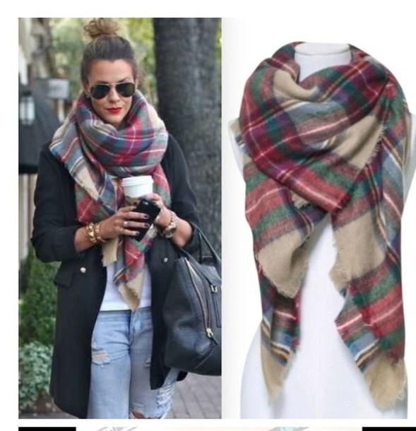 095388b9520d Scarf plaid scarves fall scarves winter scarf wheretoget jpg 589x610 Scarves  fall