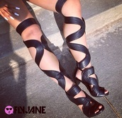 shoes,black gladiators,black heels,heels,high heels,knee length shoes,sandals,black,black shoes,lace up boots,lace up