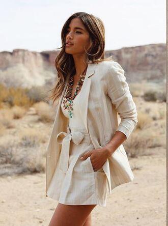 shorts blazer spring spring outfits top necklace rocky barnes instagram blogger jacket