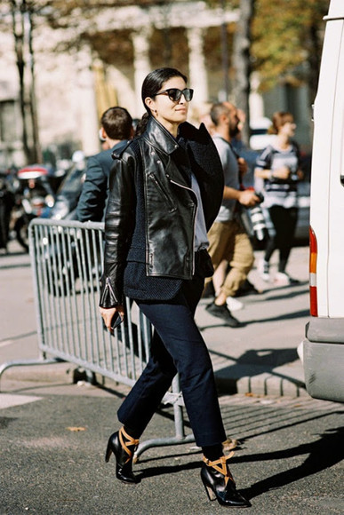 jacket black boots vanessa jackman blogger leather jacket