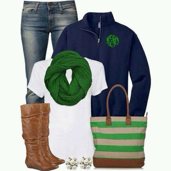 scarf green scarf riding boots jeans blue jacket tote bag