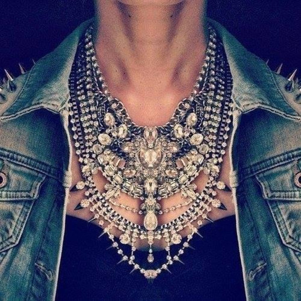 jewels necklace spikes silver ebonylace.storenvy jewelry statement necklace