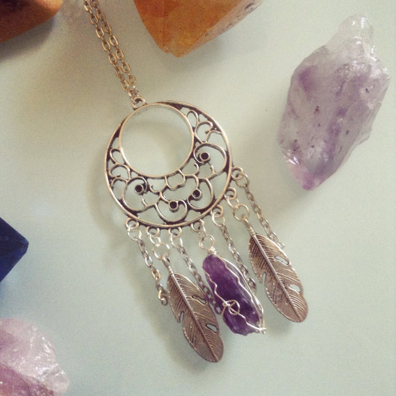 Amethyst Days Necklace - Silver Wire wrapped amethyst - feather charms - layerable necklace