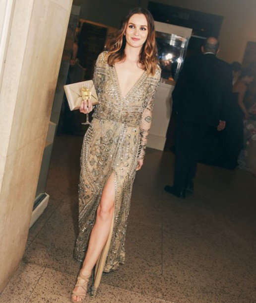 dress leighton meester embroidered couture dress slit dress dress
