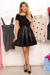 skirt,black leather skirt,dress