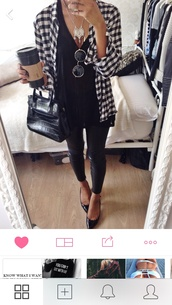 sunglasses,blouse,checkered,t-shirt,shirt,black,white,cardigan,style,trendy,blogger,heels,necklace,bag,jewels,plaid,pattern,shoes