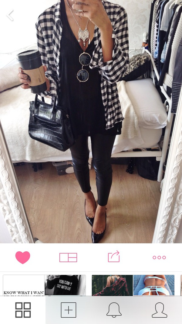 sunglasses blouse checkered t-shirt shirt black white cardigan style trendy trendy trendy blogger heels necklace bag jewels plaid pattern shoes