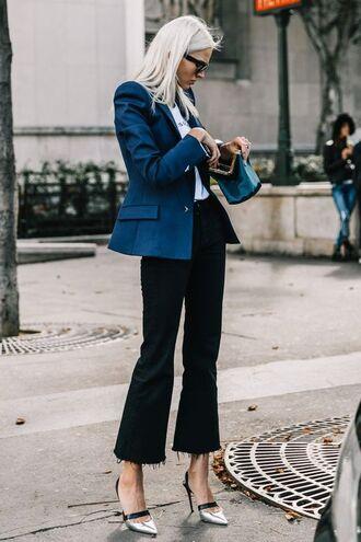 pants top blazer wide-leg pants black pants shoes pumps sunglasses jacket