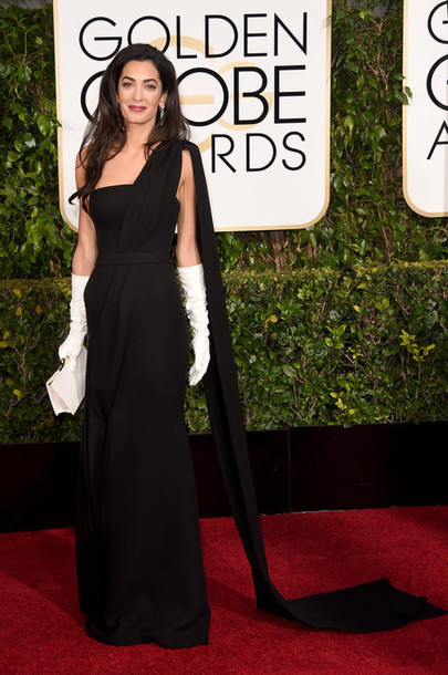 dress amal clooney Golden Globes 2015 red carpet dress black dress jewels
