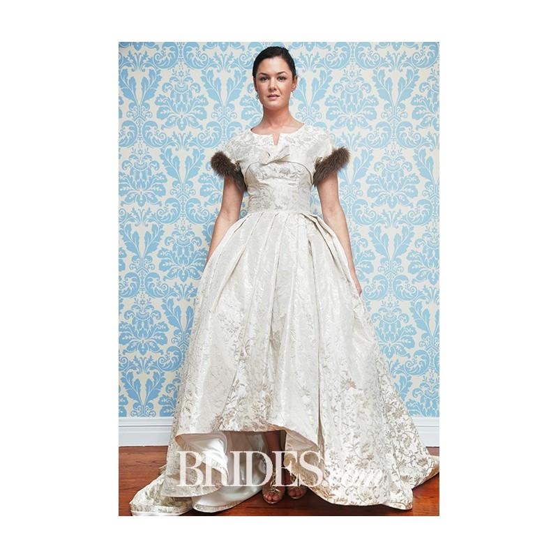 Modern Trousseau - Fall 2015 - Pride Short Sleeve Asymmetrical Ballgown Small V Neckline Wedding Dress - Stunning Cheap Wedding Dresses|Prom Dresses On sale|Various Bridal Dresses