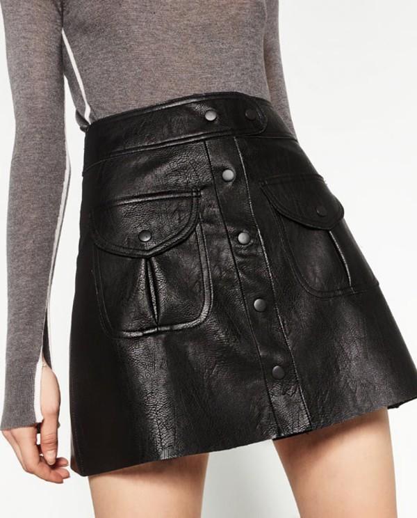 18663886b4 Zara Faux Leather Black Mini Skirt Buttons Snaps Pockets Short Small ...