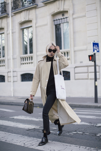 the haute pursuit blogger coat shoes bag sunglasses pochette metis long coat camel long coat theclosetheroes top jeans