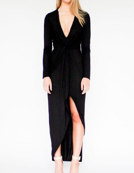 dress black maxi sleeve