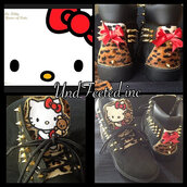 shoes,hello kitty,cats,fashionc,clothess,shirt,cute,timberlands,leopard print,bear,red,black,black shoes,spikes,studs,boots,spring,spring outfits,new clothes,bows,red bows,chain,gold,gold chain,hello kitty shoes,outfit,birthday,gift ideas,hello fashion
