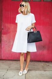 shoes,shift dress,soludos,black tote,leather tote bag,black leather tote,fendi bag,fendi,white dress,espadrilles,white espadrilles,black sunglasses,damsel in dior,blogger