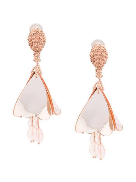 women plastic earrings floral nude jewels