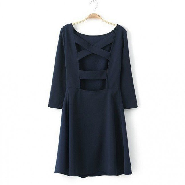 Cutout back navy dress
