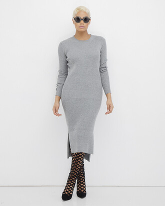 dress grey grey dress maxi dress long sleeves long sleeve dress