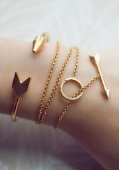 jewels,arrow,bracelets,gold,arrows,indie,boho,hippie,jewelery,bows,cute,style,to die for,necklace,gold bracelet,bag