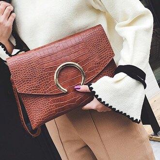 bag fashion style brown clutch purse accessories faux leather trendsgal.com