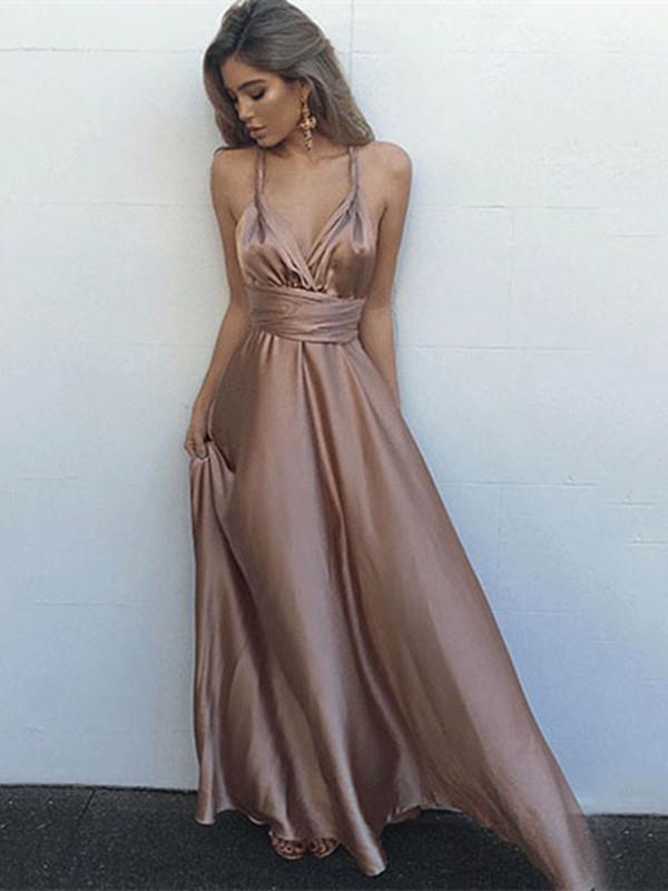 Sexy A Line Open Back Floor Length Prom Dress, Open Back Formal Dress, Graduation Dress
