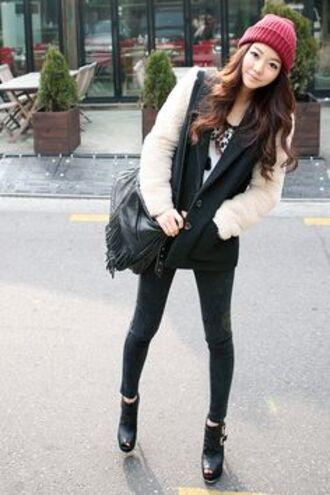 ulzzang jacket korean varsity cold fall outfits