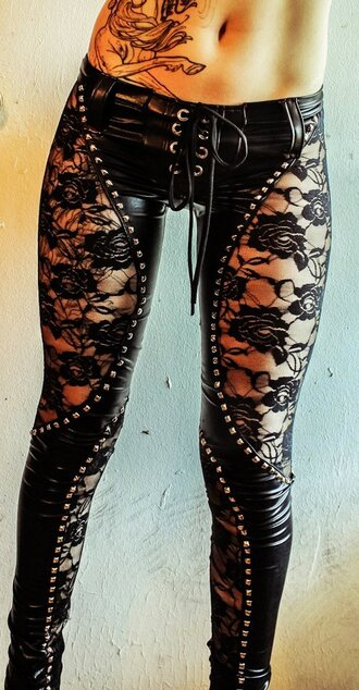 pants leggings faux leather lace lace up black sexy studded jeans leather pants leather leggings studs black pants