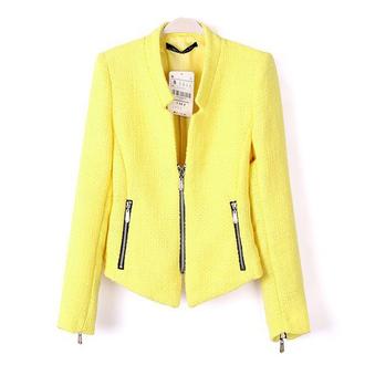 jacket classy workwear yellow zippers jacket women jacket