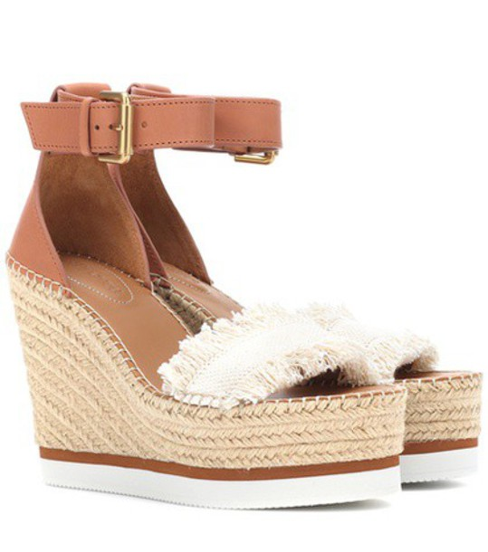 See by Chloe sandals wedge sandals leather brown shoes