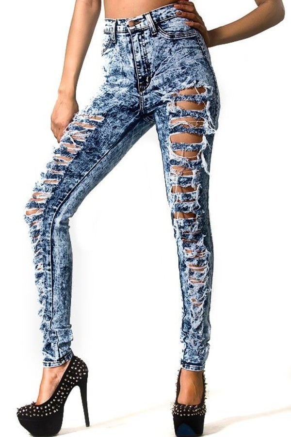 DISTRESSED HIGH WAIST ACID MINERAL WASH FRAYED RIPPED SKINNY JEANS ...