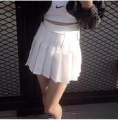 skirt,tennis skirt,tumblr,aesthetic,white tennis skirt