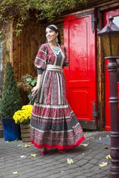 macademian girl,blogger,belt,folk,earrings,dress,bag,shoes,jewels