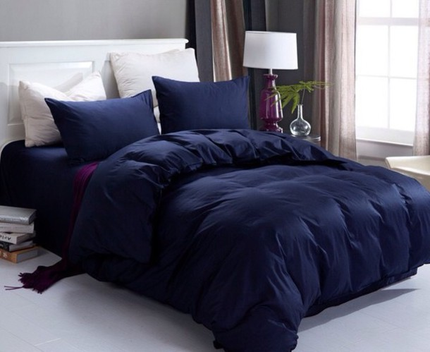 Home Accessory Dark Navy Blue Comforter Classy Bedroom