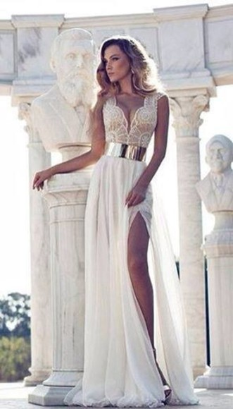 white dress gold prom dress lace dress slit dress belted dress Belt dress cream, slit leg, gold belt, lace white wedding dress prom.