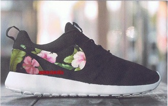 shoes black floral roshe runs