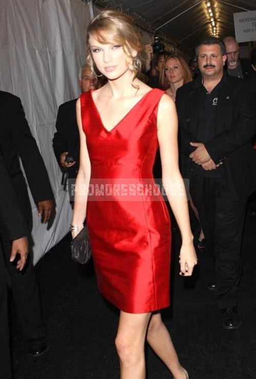 Timeless Column Satin V-neck Red Celebrity Dress - Promdresshouse.com