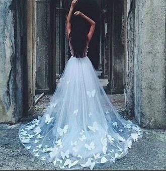skirt butterfly dress white