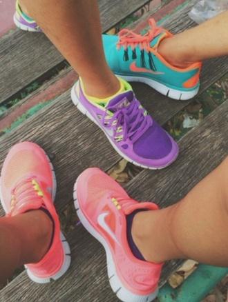 shoes nike neon blue nike shoes neon yellow heels neon pink nike free run purple nikes bag colorful brand nike running shoes nike roshe run workout sneakers cute shoes light blue nike free runners