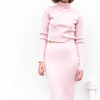 dress two piece dress set matching set pink dress pink skirt pink sweater