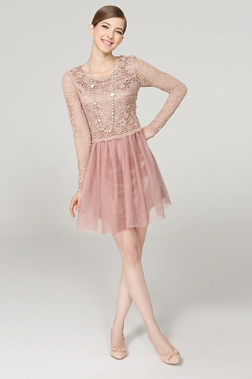 Sweet Hallow-out Long Sleeve Lace Dress [FXBI00414]- US$ 63.99 - PersunMall.com